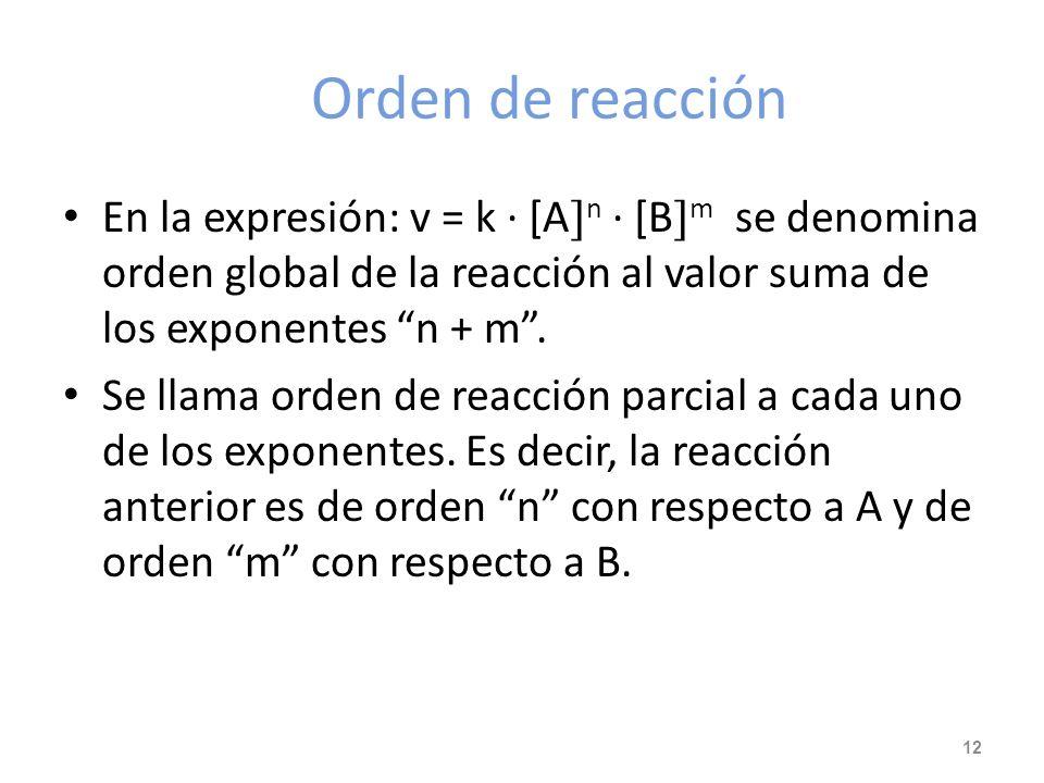 Orden de reacción En la expresión: v = k · [An · [Bm se denomina orden global de la reacción al valor suma de los exponentes n + m .